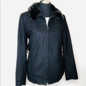 GIACCA Wool Blend Coat / Jacket Faux with Fur Trim